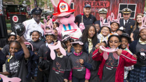 Children with the Energizer bunny