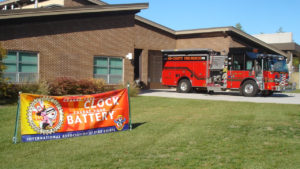 Change your battery - Energizer marketing campaign - sign at fire station - St Louis Mo.
