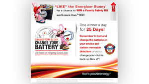 Win a family safety kit - Engergizer change your clock campaign flyer