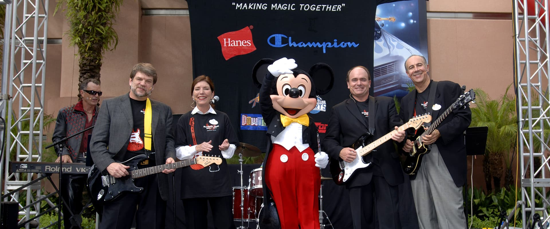 Disney and Hanes brands marketing event featuring Mickey Mouse on stage