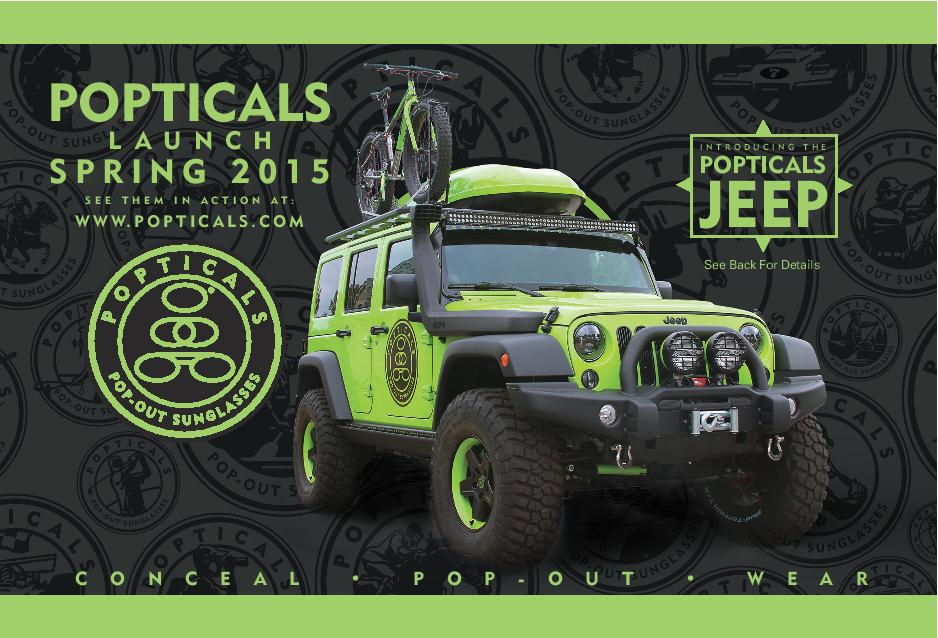 Popticals brought a decked-out Jeep Wrangler with them to Outdoor Retailer.
