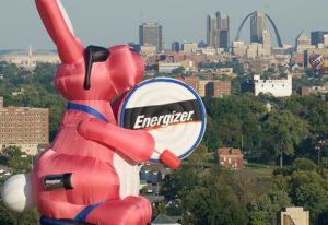 Giant inflatable Energizer bunny in St. Louis