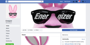 Energizer Facebook page